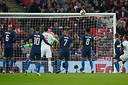 Dele Alli of England header hits the cross bar during the International Friendly match between England and USA at Wembley Stadium, London, England on 15 November 2018.