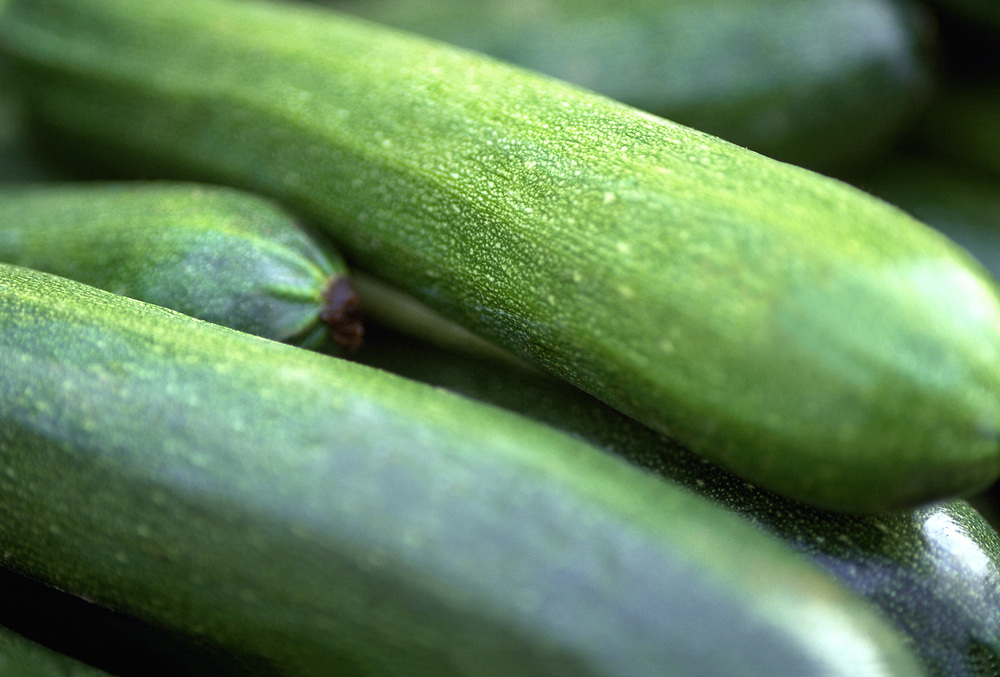 Close up selective focus photograph of a pile of Zucchini