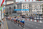 Team Italy lead during the men's cycling road race during the 2019 Minsk European Games on the 23rd June 2019 in Minsk City in Belarus.