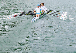 Luka Spik, Gasper Fistravec Jan Spik and Jure Grace during practice session of Slovenian National Rowing team for European Rowing Championships 2013 in Seville, Spain, on May 22, 2013 in Bled Lake, Slovenia. (Photo By Vid Ponikvar / Sportida)