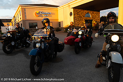 Gary Shorman leaving the start of the Cross Country Chase motorcycle endurance run from Sault Sainte Marie, MI to Key West, FL (for vintage bikes from 1930-1948). Stage 2 from Ludington, MI to Milwaukee, WI, USA. Saturday, September 7, 2019. Photography ©2019 Michael Lichter.