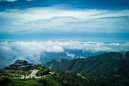 Building overlooking a stunning moutainous landscape, Mau Son, Vietnam