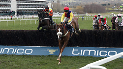 Native River ridden by Richard Johnson (centre) jumps a fence before going on to win the Timico Cheltenham Gold Cup Chase ahead of Might Bite ridden by Nico de Boinville (left) during Gold Cup Day of the 2018 Cheltenham Festival at Cheltenham Racecourse.