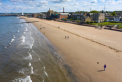 Drone image of Portobello Beach almost deserted during Covid-19 lockdown, Scotland, UK