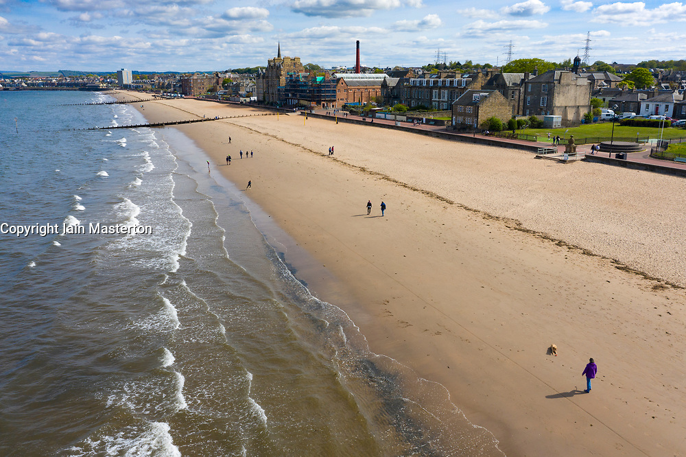 Drone image of Portobello Beach almost deserted during Covid-19 lockdown, Scotland, UK
