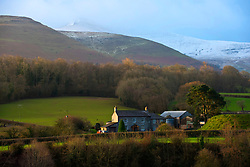 © Licensed to London News Pictures. 01/03/2020. Brecon Beacons National Park, Powys, Wales, UK  On the first day of meteorological spring, the summit of Pen-Y-Fan (the highest peak in the Brecon beacons National Park – 886 metres) is covered with snow from Storm Jorge which hit Wales yesterday.Photo credit: Graham M. Lawrence/LNP