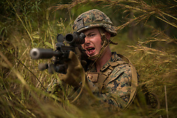 May 23, 2019 - Shoalwater Bay Training Area, Queensland, Australia - A U.S. Marine with the Ground Combat Element, Marine Rotational Force Darwin (MRF-D), provides security during a platoon attack during Exercise Southern Jackaroo, Shoalwater Bay Training Area, Queensland, Australia, May 23, 2019. Southern Jackaroo is a trilateral exercise hosted by 6th Battalion, Royal Australian Regiment, in conjunction with MRF-D Marines and service members from the Japan Ground Self-Defense Force. (Credit Image: ? U.S. Marines/ZUMA Wire/ZUMAPRESS.com)