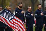 USA players during the national anthem during the November Test match between Romania and USA at Ghencea Stadium, Bucharest, Romania on 17 November 2018.