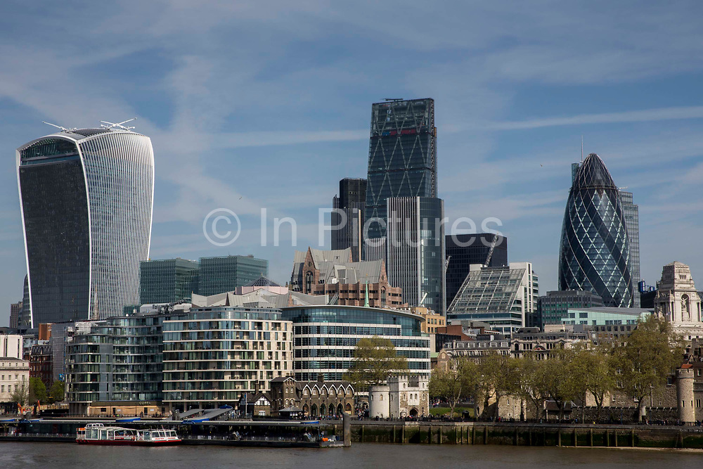 Buildings on the city of Londons skyline including the Walkie Talkie 20 Fenchurch Street and the Gherkin 30 St Mary Axe. Central London, UK. 5th May 2016