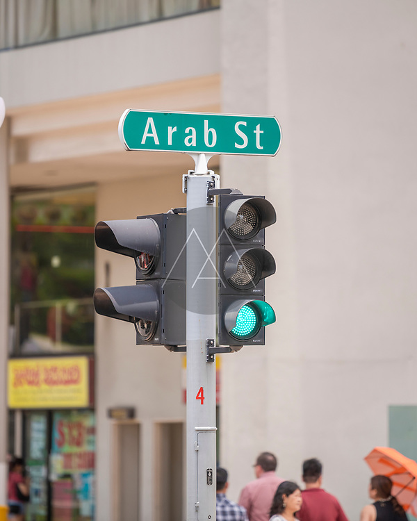 Singapore - 26 March 2019: View of a traffic light in Singapore downtown.