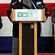 2/7/11 -- BRUNSWICK, Maine.  Midcoast Regional Redevelopment Authority Board Chair Art Mayo of Bath speaks at the handover ceremony on Monday.  The U. S. Navy passed the Hangar 6 over to the MRRA today in a ceremony attended by Maine Governor Paul LePage, Congresswoman Chellie Pingree and a host of other members of local and state government. Roger S. Duncan Photo / For The Forecaster