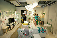 Checking out some living room stuff at the grand opening of the new Ikea in Burbank. The new Ikea store comes in at 456,000 sf, compared to the old one at 242,000 sf. And 1,700 parking places.  Feb. 8, 2017  Photo by David Sprague