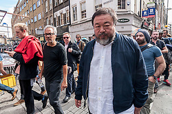 © Licensed to London News Pictures. 17/09/2015. London, UK. Internationally renowned artists, Ai Weiwei and Anish Kapoor, walk in the East End, marking their solidarity for refugees in the current crisis by leading a walk from the Royal Academy of Arts in Piccadilly to Stratford, passing many of London's landmarks en route. Photo credit : Stephen Chung/LNP