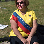 Venezuela election the 20th May 2018 tell the US and EU to mind their own business is the Venezuelan choice not US and EU and hands off Venezuela - no sanctions, no embargo and leave Venezuelan politic, lifestyle and culture alone in Trafalgar Square on 19th May 2018, London, UK.