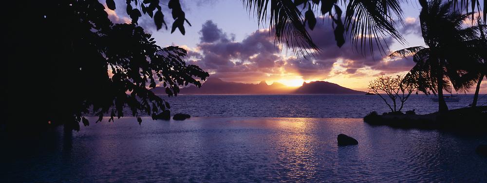 Panoramic iew of Moorea at sunset from the Tahiti International Hotel, Tahiti, Society Islands, French Polynesia