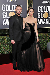 Justin Timberlake and Jessica Biel  at the 75th Golden Globe Awards held at the Beverly Hilton in Beverly Hills, CA on January 7, 2018.<br />
