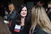 Larissa Robideaux of Center for Excellence in Nonprofits talks with others during the Silicon Valley Business Journal's Women of Influence event at the Fairmont San Jose in San Jose, California, on May 16, 2019. (Stan Olszewski for Silicon Valley Business Journal)