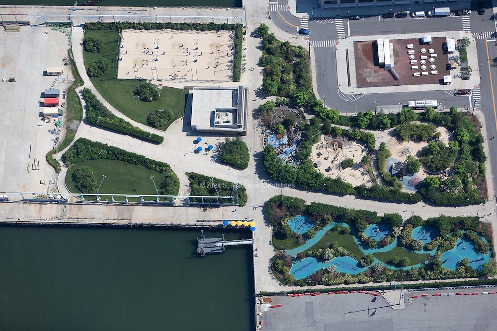 Pier 5 of Brooklyn Bridge Park offers a variety of recreational areas. Park designed by Michael Van Valkenburgh Associates