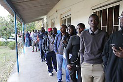 LUSAKA, Aug. 11, 2016 (Xinhua) -- Voters wait to cast their ballots at a polling station in Lusaka, capital of Zambia, on Aug. 11, 2016. Polling started Thursday morning for Zambia' s general elections and referendum. About 6.7 million registered voters are expected to cast their ballots at nearly 7,700 polling stations across the country, which opened from 6 a.m to 6 p.m. (Xinhua/Peng Lijun) (syq) (Credit Image: © Peng Lijun/Xinhua via ZUMA Wire)