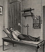 X-ray being taken of a patient's thorax. The X-ray pate is beneath the patient at C. From 'Die Naturkrafte' by M  Wilhelm Meyer (Leipzig, 1903).