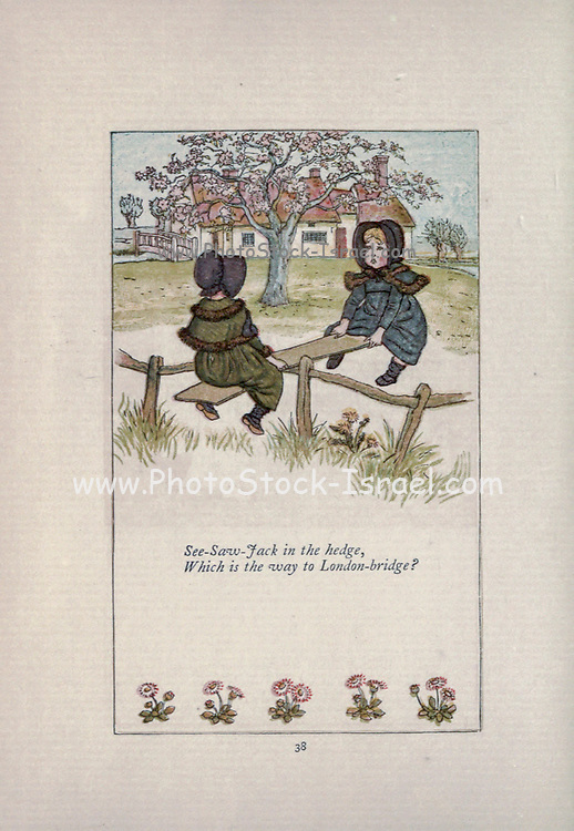 See-Saw-Jack in the hedge. / Which is the way to London-bridge? from the book Mother Goose : or, The old nursery rhymes by Kate Greenaway, Engraved and Printed by Edmund Evans published in 1881 by George Routledge and Sons London nad New York
