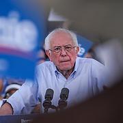 Bernie Sanders speaks at a rally at Santa Monica High School in Santa Monica, CA