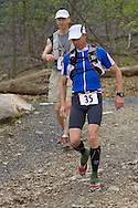 Gardiner, New York - Scott Field (35) competes in the Rock the Ridge 50-mile endurance challenge race at the Mohonk Preserve on May 4, 2013. The race is part of Mohonk's 50th anniversary celebration and a fundraiser for the preserve.