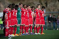 Fotball<br /> 1. Mai 2012<br /> Norges mesterskap<br /> 1, runde<br /> Bjarg - Brann 1 - 2<br /> Stavollen , Bergen<br /> Det blir markert til minne om Alexander Dale Oen med 1. min stillhet før kampen<br /> Foto: Astrid M. Nordhaug