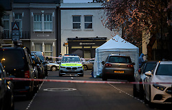 © Licensed to London News Pictures. 16/03/2019. London, UK. The scene where a  29 year old man has been stabbed to death on Gowan Avenue in Fulham, West London. Photo credit: Ben Cawthra/LNP