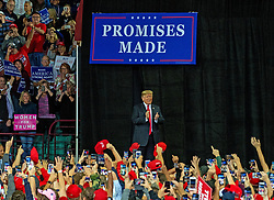 October 6, 2018 - Topeka, Kansas, U.S. - President DONALD TRUMP at rally in support of Kansas Secretary of State Kris Kobach who is the Republican candidate for governor. (Credit Image: © Mark Reinstein/ZUMA Wire)