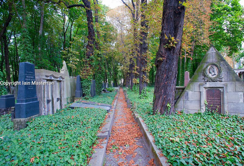 Pathway in the old Jewish cemetery in Prenzlauer Berg in Berlin Germany