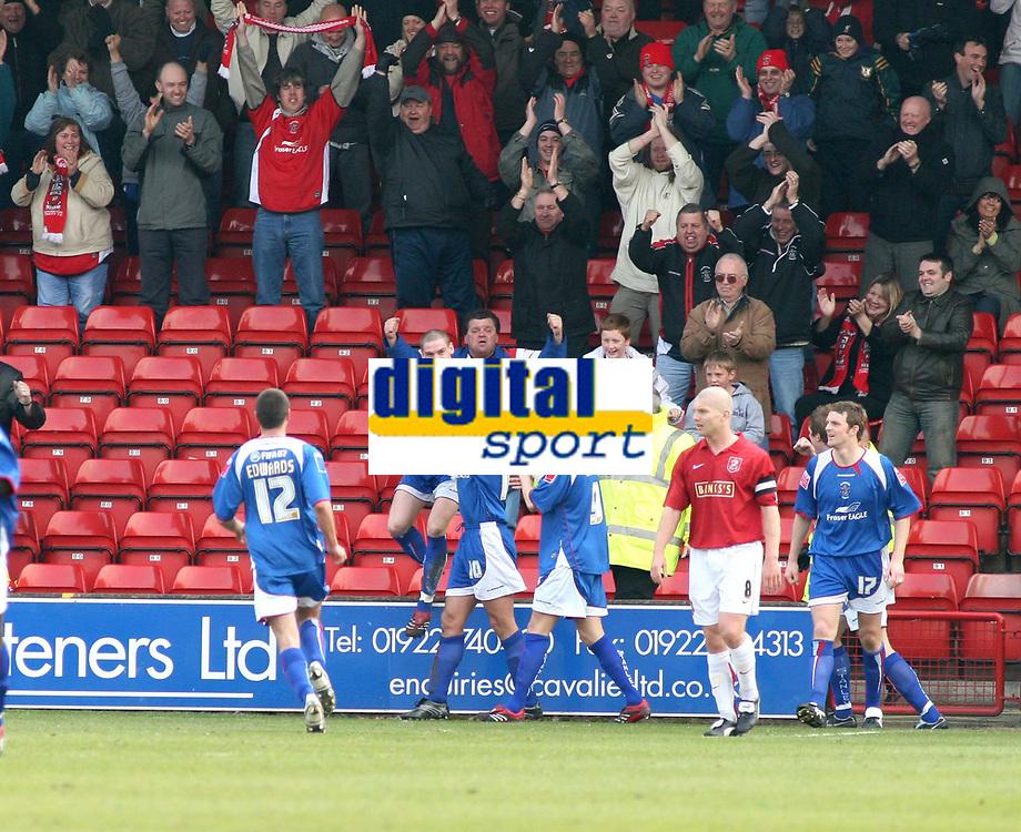 Photo: Mark Stephenson.<br />Walsall v Accrington Stanley. Coca Cola League 2. 31/03/2007. Accrington's Robert Williams celebrates his goal