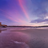 Stunning Sunset Panorama at Ballinskelligs Beach with view on historical castle, tourist attraction, County Kerry, Ireland / bs028