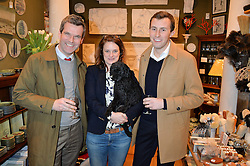 Left to right, business partners BEN PENTREATH and BRIDIE HALL with her dog Max and Ben's spouse CHARLIE McCORMICK at a party hosted by Melodi Horne & Pentreath & Hall at 17 Rugby Street, Bloomsbury, London on 12th February 2015.