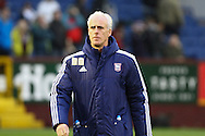 Ipswich Town Manager Mick McCarthy makes his way across the pitch prior to kick off. Skybet football league Championship match, Burnley v Ipswich Town at Turf Moor in Burnley, Lancs on Saturday 2nd January 2016.<br /> pic by Chris Stading, Andrew Orchard sports photography.
