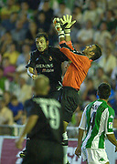 Photo Peter Spurrier<br /> 14/09/2002<br /> 2002 Real Betis vs Real Madrid  - Spanish Liga 1<br /> Madrid's, Fernando Morientes Sánchez, and Betis keeper, Antonio Prats Cervera, jump for the high ball