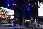 Queens, NY - October 2, 2016. Danny Miller (guitar) and Max Harwood (drums) of the band Lewis del Mar playing their set at The Meadows festival at Citi Field.