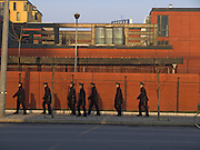 group of young police officers marching China Beijing