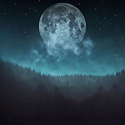 Full moon and stars over a misty woodland - manipulated and textured photograph<br /> Prints & more: http://bit.ly/2fV3W6i
