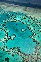 Aerial views of beautiful Heart Reef in the spectacular Great Barrier Reef near the Whitsunday Islands in Queensland, Australia.