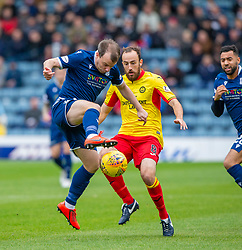 Dundee's Paul McGowan and Partick Thistle's Stuart Bannigan. half time : Dundee 1 v 0 Partick Thistle, Scottish Championship game player 19/10/2019 at Dundee stadium Dens Park.