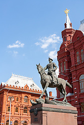 Statue of Marshal Zhukov with the kremlin tower