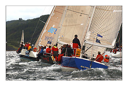 Yachting- The inshore racing  of the Bell Lawrie Scottish series 2003 at Tarbert Loch Fyne. ..Class two's Bataleur 97 on a reach with Class one's Big Brother GER3510 and Absolutely two....Pics Marc Turner / PFM