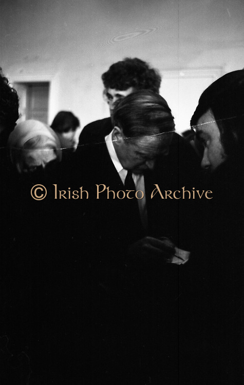 Mr Liam Cosgrave,Leader of Fine Gael,at Vote Count. (E48).1973..01.03.1971..03.01.1973..1st March 1973..As the ballot boxes were opened in Dun Laoghaire Town Hall, Mr Cosgrave and his supporters watched as the voting papers were piled high. The vote was as the result of an often hectic General Election campaign. Mr Cosgrave was hoping his party would garner enough votes to oust the sitting Fianna Fail Government which had held power for sixteen years...A study of Mr Liam Cosgrave, leader Fine Gael, at the count centre at the Town Hall, Dun Laoghaire, as he calculates the possibility of forming the next government.