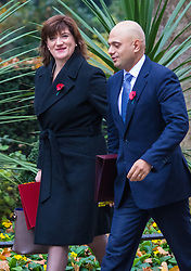 Downing Street, London, November 3rd 2015.  Education Secretary Nicky Morgan and Business Secretary Sajid Javid arrive at 10 Downing Street to attend the weekly cabinet meeting. /// Licencing: Paul@pauldaveycreative.co.uk Tel:07966016296 or 020 8969 6875