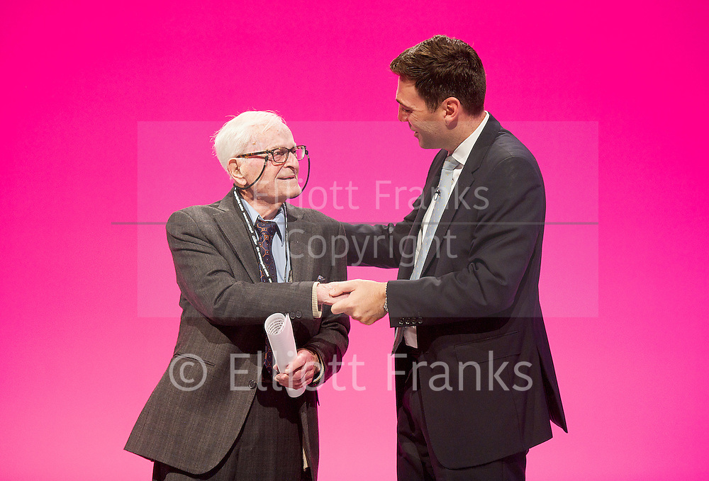 Labour Party Conference<br /> at Manchester Central, Manchester, Great Britain <br /> 24th September 2014 <br /> <br /> Harry Smith <br /> speaking during the Health & Care debate <br /> <br /> with Andy Burnham <br /> <br /> Photograph by Elliott Franks <br /> Image licensed to Elliott Franks Photography Services