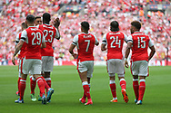 Arsenal players celebrate Arsenal's Alexis Sánchez(7) goal, 1-0 during the The FA Cup final match between Arsenal and Chelsea at Wembley Stadium, London, England on 27 May 2017. Photo by Shane Healey.