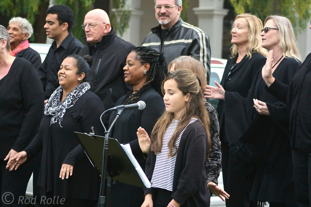 """19 January 2015-Santa Barbara, CA: Inspirational Singing by the Inner Light Community Gospel Choir, Dauri Kennedy, Director.  Santa Barbara Honors Dr. Martin Luther King Jr. with a Day of Celebration.  The Santa Barbara MLK, Jr. Committee chose """"Drum Majors for Justice"""" as it's theme for the day which included a Pre-March Program in De la Guerra Plaza followed by a march up State Street to the Arlington Theater for speakers, music and poetry.  The program concluded with a Community Lunch at the First United Methodist Church in Santa Barbara.  Photo by Rod Rolle"""