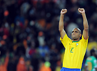 Fotball<br /> VM 2010<br /> 20.06.2010<br /> Brasil v Elfenbenskysten<br /> Foto: Witters/Digitalsport<br /> NORWAY ONLY<br /> <br /> Schlussjubel Maicon (Brasilien)<br /> Fussball WM 2010 in Suedafrika, Vorrunde, Brasilien - Elfenbeinkueste 3:1