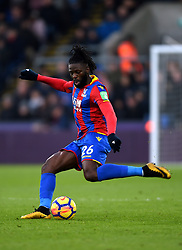 """Crystal Palace's Bakary Sako during the Premier League match at Selhurst Park, London. PRESS ASSOCIATION Photo. Picture date: Saturday January 13, 2018. See PA story SOCCER Palace. Photo credit should read: Daniel Hambury/PA Wire. RESTRICTIONS: EDITORIAL USE ONLY No use with unauthorised audio, video, data, fixture lists, club/league logos or """"live"""" services. Online in-match use limited to 75 images, no video emulation. No use in betting, games or single club/league/player publications"""